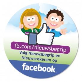 """Sticker """"Volg Nieuwsbegrip en Nieuwsrekenen op facebook"""""""