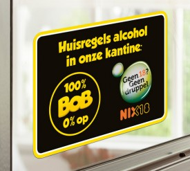"Transparante Deursticker ""Huisregels Alcohol"""